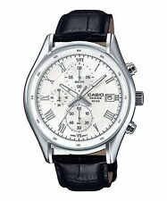 BEM-512L-7A White Casio Men's Watches Leather Band Chronograph Beside New