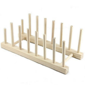 Wooden Plate Rack Wood Stand Display Holder Lids Holds 7 New Heavy Duty ③