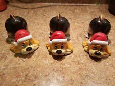 Vintage Hard Plastic Kneeling Dog Figurine Wearing Santa Hat ~ Set of 3