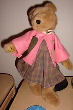 """Large Brown Bear 18"""" with bear pin and Pink coat, moveable arms and legs, Grand"""