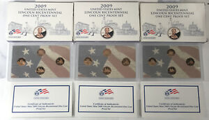 3 2009 Bicentennial Lincoln Proof Set 4 Proof Pennies with Box and COA  S126