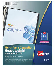 Avery Multi Page Capacity Top Loading Sheet Protectors 8 12 X 11 Inches