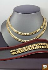 Real 10k Gold Miami Cuban Chain 28 Inches & Bracelet 7mm,Lobster lock,Cuben,Rope