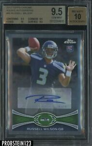 2012 Topps Chrome Russell Wilson RC Rookie AUTO Seahawks BGS 9.5 w/ 10
