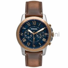 Fossil Original FS5150 Men's Grant Dark Brown Leather Watch 44mm Chronograph