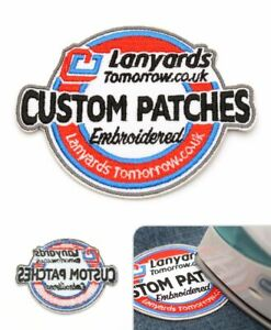 Personalised Embroided Logo Patches Sew Iron On Badge Tag Hat Jeans Club Biker