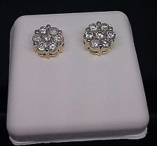 14K Yellow Gold Flower Shape Earring With .53CT Round Diamond Screw Back New