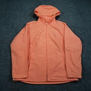 Liz Golf Jacket S Small Orange Full Zip Hooded Long Sleeves Nylon Blend Womens