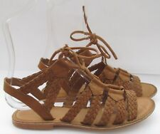 Topshop size 5 (38) tan leather flat gladiator woven summer sandals