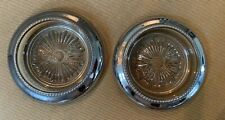 """Silver Wine Coasters With Glass Pair 4"""" Sunburst center"""