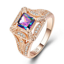 Gorgeous Princess Cut Rainbow Topaz Gemstone Silver 18K Yellow Gold Plated Ring