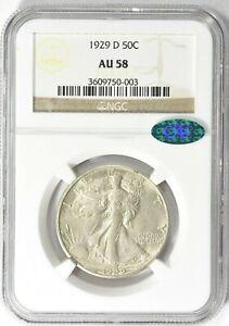 1929-D NGC CAC AU58 Semi Key Dt Walking Liberty Silver Half Dollar Lower Mintage