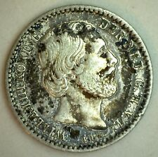 1869 Silver Netherlands Dutch 10 Cent Dime Coin Extra Fine XF