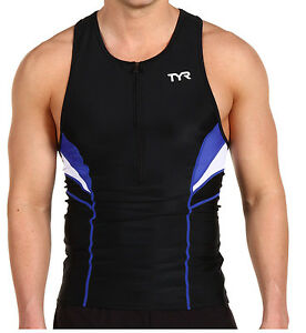 TYR Competitor Triathlon Cycling Tank Top Men's Size S Blue Black White SPF 50