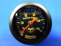 "Marshall Gauge 0-15 psi Fuel Pressure Oil Pressure 1.5"" Midnight Black Liquid"