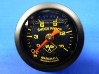 """Marshall Gauge 0-15 psi Fuel Pressure Oil Pressure 1.5"""" Midnight Black Liquid"""