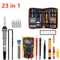 23PC 110V 60W Electric Soldering Iron Gun Tool Welding Desoldering Pump Set Kit