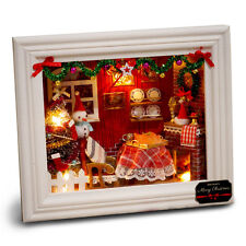 DIY Wood Miniature Dollhouse Furniture Christmas Frame Home Decor Kit Xmas Gift