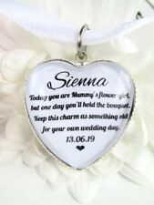 Mummy's Flower Girl Gift Bouquet Wand Posy Charm Wedding Heart Personalised Gift