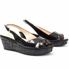 Prada Black Patent Leather Platform Wedge Sandals - Size 38 - Italy