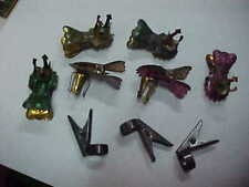 9pc Vintage Antique German Christmas Tree Candle Clips Clip On lights Germany