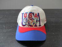 VINTAGE USA Olympics Hat Cap White Blue Atlanta Summer Games Snap Back 90s