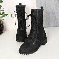 Womens Block Low Heel Denim Lace Up Round Toe Boots Fashion Casual Simple Shoes