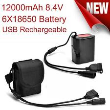 8.4V USB Rechargeable 12000mAh 6X18650 Battery Pack For Bicycle light Headlamp