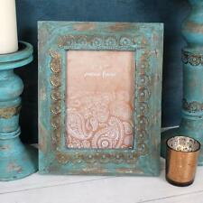 Antique Vintage Metal Photo Frame Turquoise and Gold IO_60916
