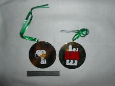 """2 Vintage """"Snoopy 1958 United Features Syndicate"""" Gold Toned Metal Ornaments"""