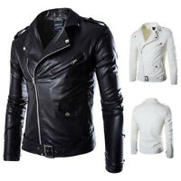 Mens Fashion Slim Fit Faux Leather Jacket Coat Tops Outwear Zipper BIKER VINTAGE