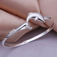 versilbert Silber Dolphin Design Armband Armreif Damen Modeschmuck   DE