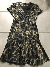 Trinny & Susannah Black/Gold Smudge Design Satin Feel Flip Bottom Dress 14 New