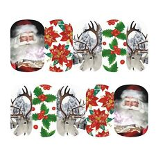 Nail Art Sticker Water Transfer Xmas Santa & His Reindeer (DS409)