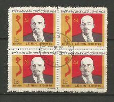 Vietnam du Nord 1970 Lénine un bloc de 4 timbres oblitérés /T6376