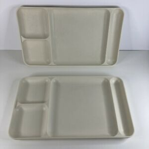 Lot of 2 Tupperware Divided Trays 1535 Almond White School Work Lunch Tray