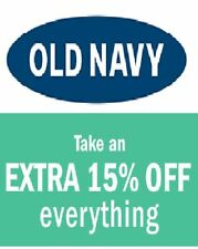 Old Navy 15 % Coupon Code -COMBINABLE with ON LINE Discount- IMMEDIATE DELIVERY!