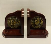 Golf Themed Bookends Vintage with Brass Medallion Cherry Wood Felt on Bottom