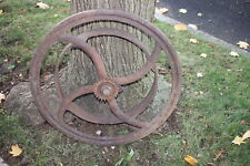 Antique Hit Miss Engine Wheel Assembly-Large-Industrial Country Decor
