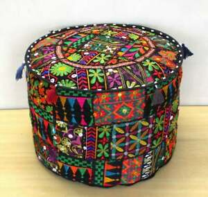 Patchwork Ottoman Pouf Cover Floor Cushion Cover Indian Vintage Pouffe Footstool