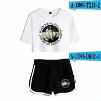 2 Piece Summer Merch Clothes For Women Lady Billie Eilish Shorts T-Shirt Outfits