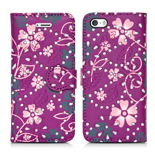 Flip Wallet Leather Cover Case for Apple iPhone Models Screen Protector Printed Glitter Purple / Plum I Phone 5 5s