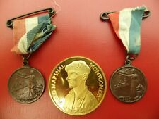 BASE METAL WWI PEACE MEDALLIONS AND A GILT MONTGOMERY NORTH AFRICA MEDALLION