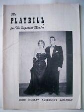 JOHN MURRAY ANDERSON'S ALMANAC Playbill BILLY DeWOLFE / HERMIONE GINGOLD 1953