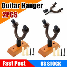 2Pcs Guitar Hanger Stand Wall Mount Hook Rack Wooden Base Display Easy Install