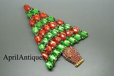 Vintage Stanley Hagler red green rhinestones christmas tree large brooch