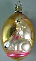 "Glass 862 Ornament Egg Bunny Rabbit Decoration 3"" Inge Glas W Germany Vintage"