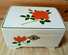 More details for vintage musical jewellery box white lacquer red rose cottagecore mid century