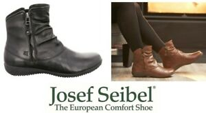 New leather ankle comfort boots with zip Josef Seibel Shoes Germany Naly 24