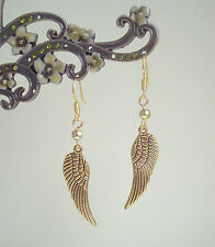 Antique Golden Guardian Angel Wing Dangly Earrings